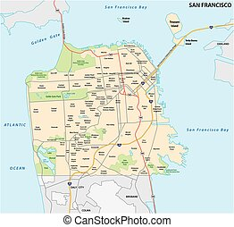 droga, san, sąsiedztwo, francisco, mapa