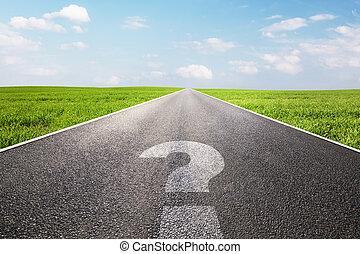 droga, symbol, pytanie, długi, marka, opróżniać, prosty,...
