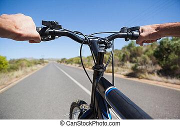 droga, utrafiając, rowerzysta, otwarty