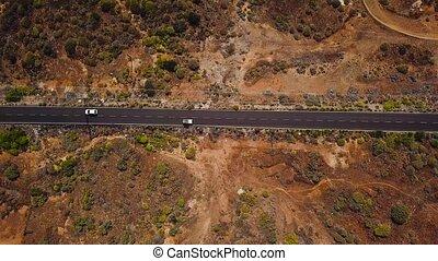 droga, wóz, górny, kanarek, hiszpania, tenerife, wzdłuż, zmarszczenie, pustynia, wyspy, prospekt