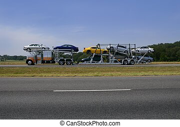 droga, wozy, samochód przewóz, barwny