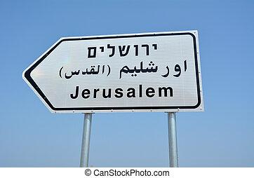 droga znaczą, do, jerozolima, izrael