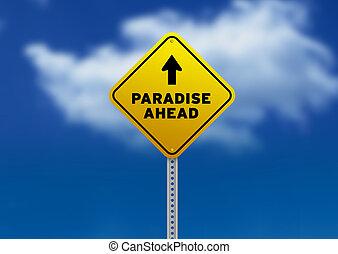 droga znaczą, na przodzie, raj