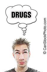 drogas, aproximadamente, homem, pensa, jovem