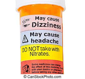 drogas, aviso, rx, garrafa, sinais