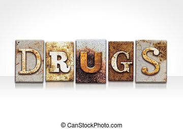 drogas, branca, conceito, isolado, letterpress