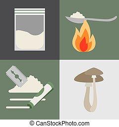 drogas, cogumelos, jogo, ícones