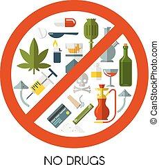 drogas, composição, não