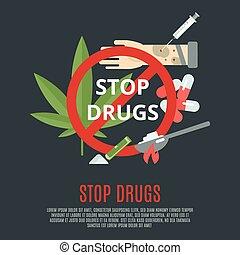 drogas, conceito, parada