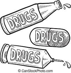 drogas, esboço, álcool