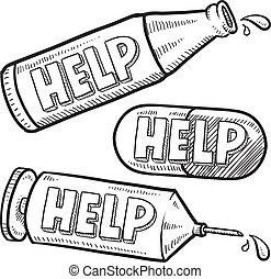 drogas, esboço, ajuda, álcool