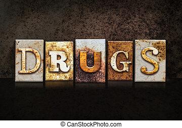 drogas, escuro, conceito, fundo, letterpress
