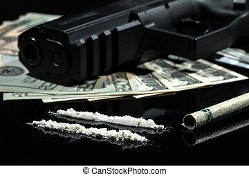 drogas, ilegal, armas de fuego, dinero
