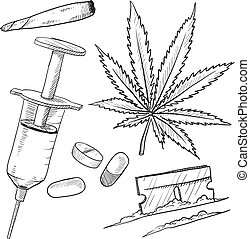 drogas, ilegal, esboço, objetos