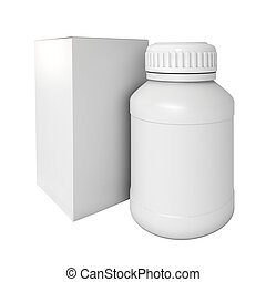 drogas, medicina, bottle., blanco, paquete