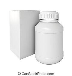 drogas, medicina, bottle., em branco, pacote