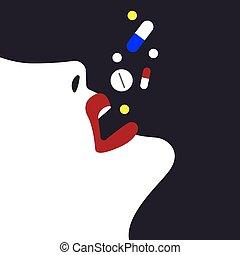 drogas, muitos, levando, mulher