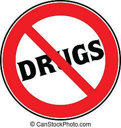 drogas, parada, ilustração, sinal