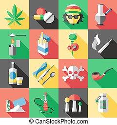 drogas, plano, conjunto, icono