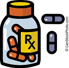 drogas, prescripción, ilustración