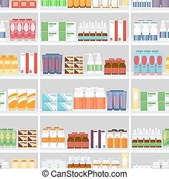 drogas, vario, píldoras, estantes