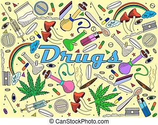 drogas, vector, ilustración
