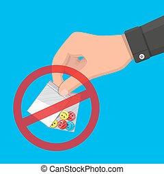 droge, betäubungsmittel, tasche, halten hand, händler