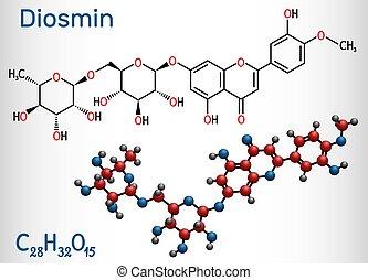 droge, molecule., chemische , glycoside, diosmin, strukturell, modell, diosmetin, semisynthetic, venös, flavone, behandlung, molekül, ihm, flavonoid, disease., formel, c28h32o15