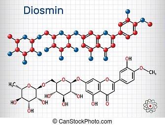 droge, molecule., käfig, glycoside, papier, diosmin, diosmetin, semisynthetic, venös, flavone, behandlung, ihm, flavonoid, disease., blatt, c28h32o15
