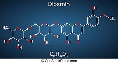 droge, molecule., krankheit, glycoside, diosmin, diosmetin, semisynthetic, flavone, venös, behandlung, ihm, flavonoid, c28h32o15