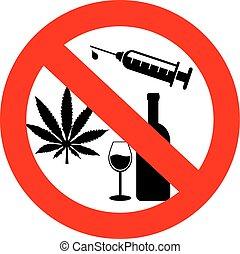 drogen, nein, alkohol, zeichen