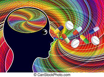 droghe, amphetamines, come, stimolante