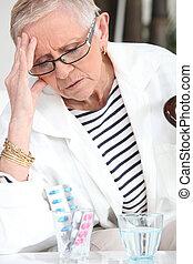 droghe, anziano, donna, presa