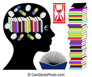 droghe, cervello, presa, studente, migliorando