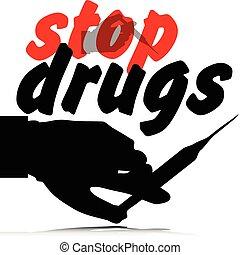 droghe, fermata, illustrazione