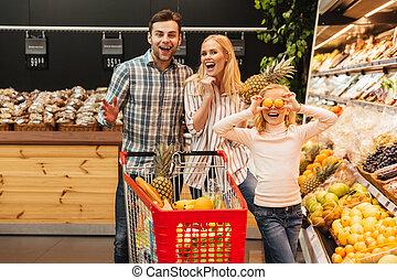 drogheria, cibo famiglia, negozio, bambino, acquisto, felice