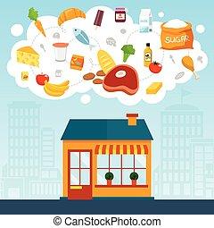 drogheria, concetto, negozio