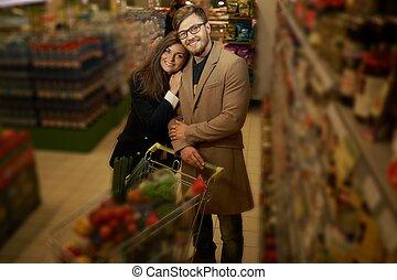 drogheria, coppia, negozio, giovane
