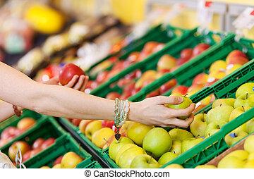 drogheria, donna, mele, scegliere, mani, negozio