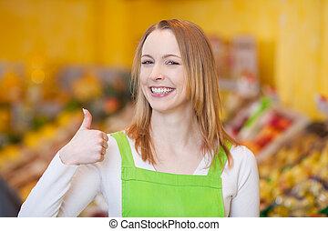 drogheria, esposizione, lavoratore, gesto, femmina, thumbsup, negozio