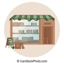 drogheria, fattoria, mensola, vettore, fresco, illustrazioni, store.