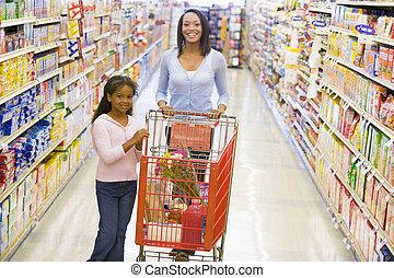 drogheria, figlia, giovane, madre, shopping, negozio