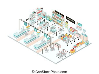 drogheria, illustration., colorito, isometrico, supermercato, interior., store.