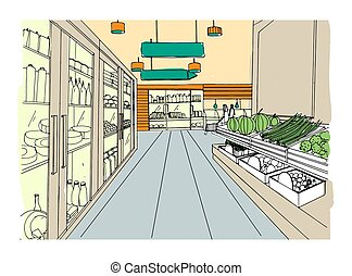 drogheria, illustration., colorito, supermercato, mano, disegnato, interno, store.