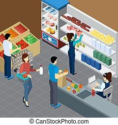 drogheria, isometrico, negozio, composizione