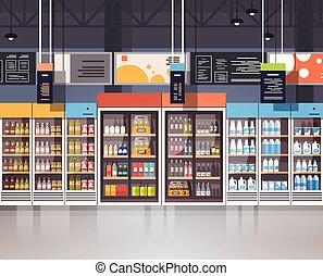 drogheria, mensole, cibo, supermercato, interno, assortimento, vendita dettaglio