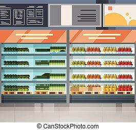 drogheria, mensole, moderno, supermercato, prodotti, interno, fresco, negozio, fila