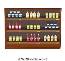 drogheria, mensole, vettore, prodotti, cartone animato, negozio