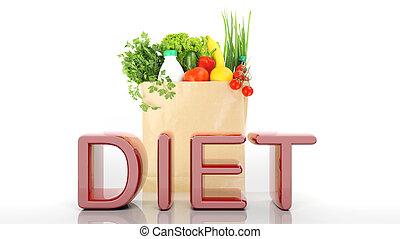 drogheria, sano, parola, isolato, dieta, borsa, carta, prodotti, bianco, 3d
