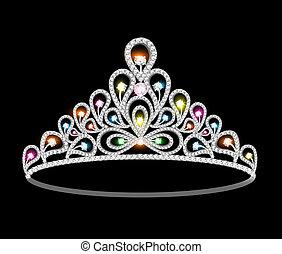 drogocenny, błyszcząc, kobiety, tiara, kamienie, korona